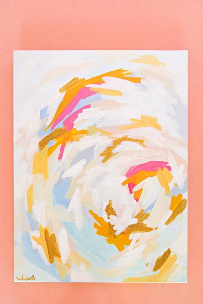 idée de tableau peinture abstraite à l'acrylique à réaliser soi-même, toile abstraite en rose, jaune moutarde et bleu clair