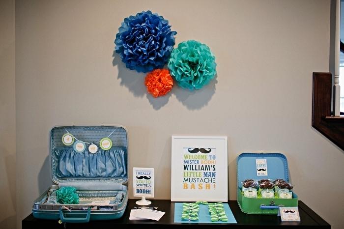 buffet gourmand sur le theme anniversaire moustache tout en bleu et vert, décoration à thème pour buffet gourmand avec présentoirs valises