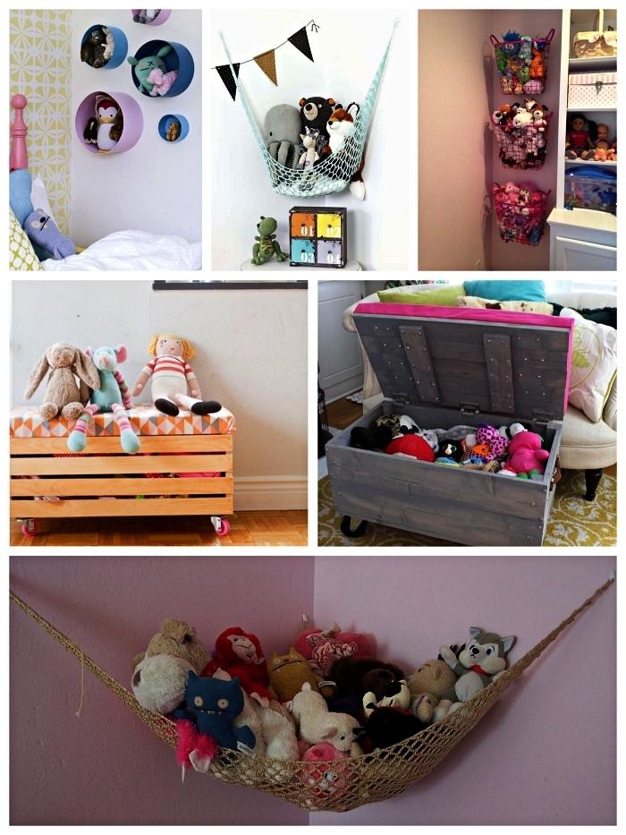 astuces de rangement chambre enfant pour stocker les peluches, paniers muraux et sacs suspendus pour ranger les peluches dans la chambre enfant, banc de rangement avec matelas