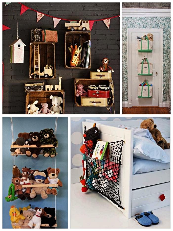 astuces de rangement pour jouets dans la chambre d'enfant, étagères murales en caisses bois, paniers de rangement suspendus à la porte et des rangements pour peluches originaux