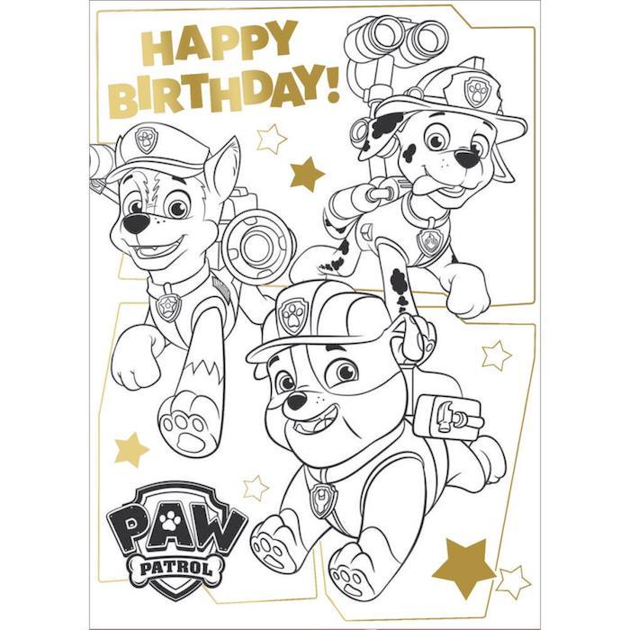 Paw patrol dessin joyeux anniversaire noir et blanc à colorer, dessin anniversaire à emprunter avec les chiens de La Pat Patrouille