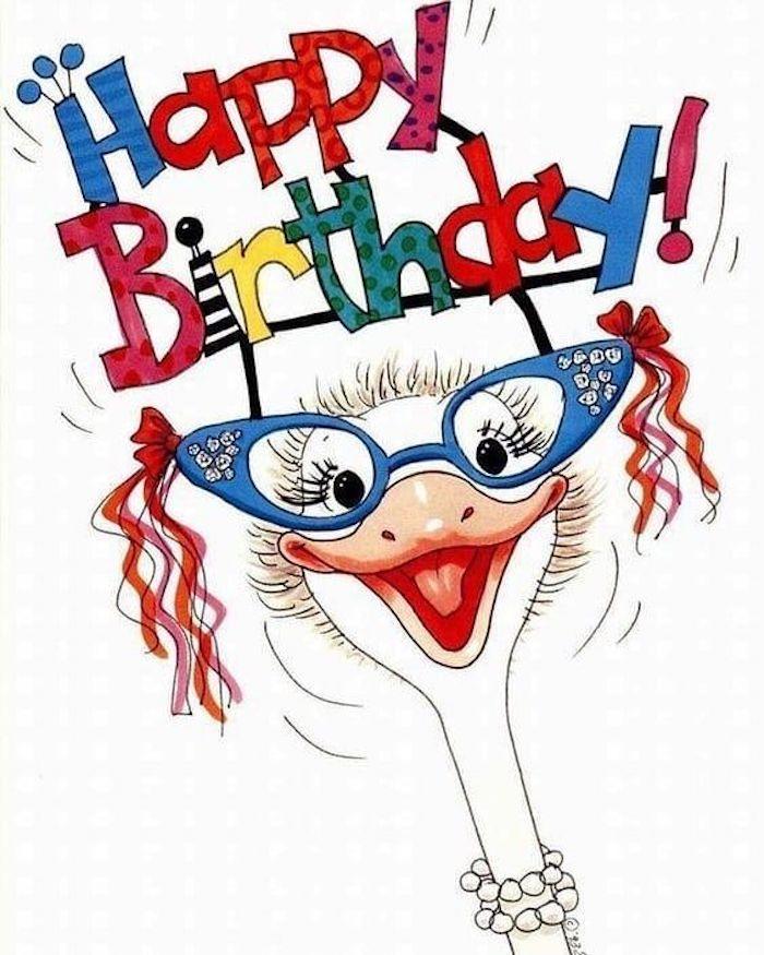 Joyeux anniversaire dessin amusement, image anniversaire humeur, autruche avec lunettes bleus et grand sourire