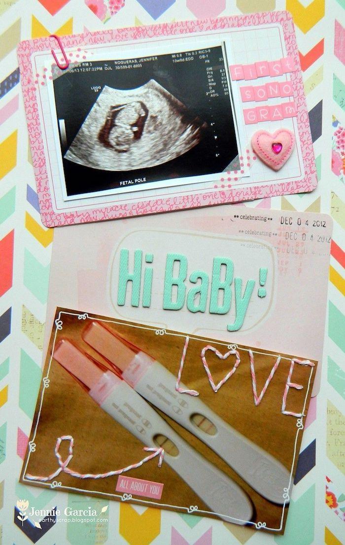 Album photo pour bébé, carnet diy avec les premiers photos du bébé et le test, design simple idée page de scrapbook