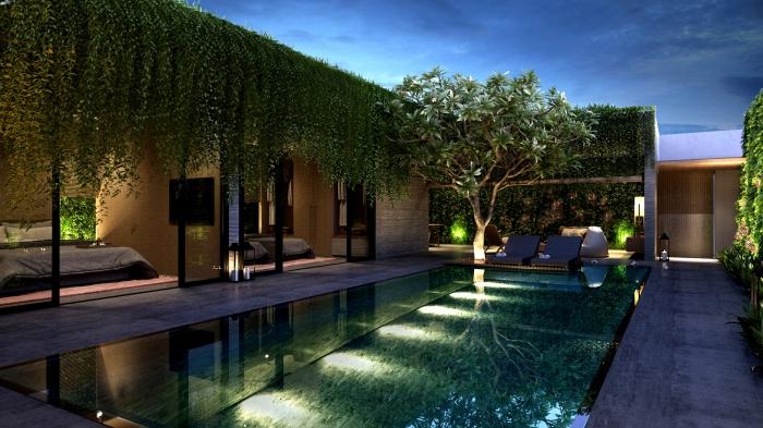 idée décoration autour d une piscine avec meubles modernes, idée mur végétal extérieur, choix d'éclairage pour piscine