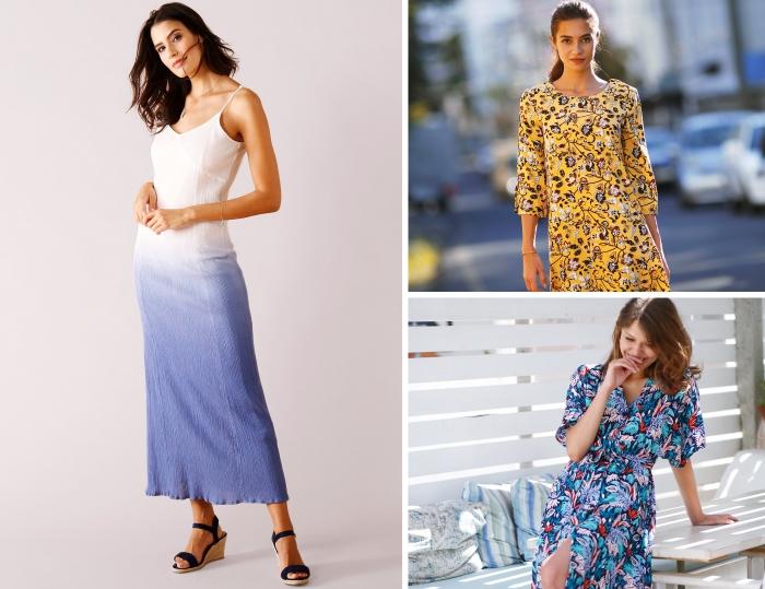 modèle de robe longue droite avec bretelles fines à design tie and dye, idée robe d'été femme longue aux motifs floraux