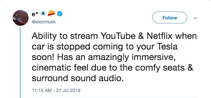 Netflix et Youtube seront très prochainement disponibles dans les voitures Tesla d'après Elon Musk