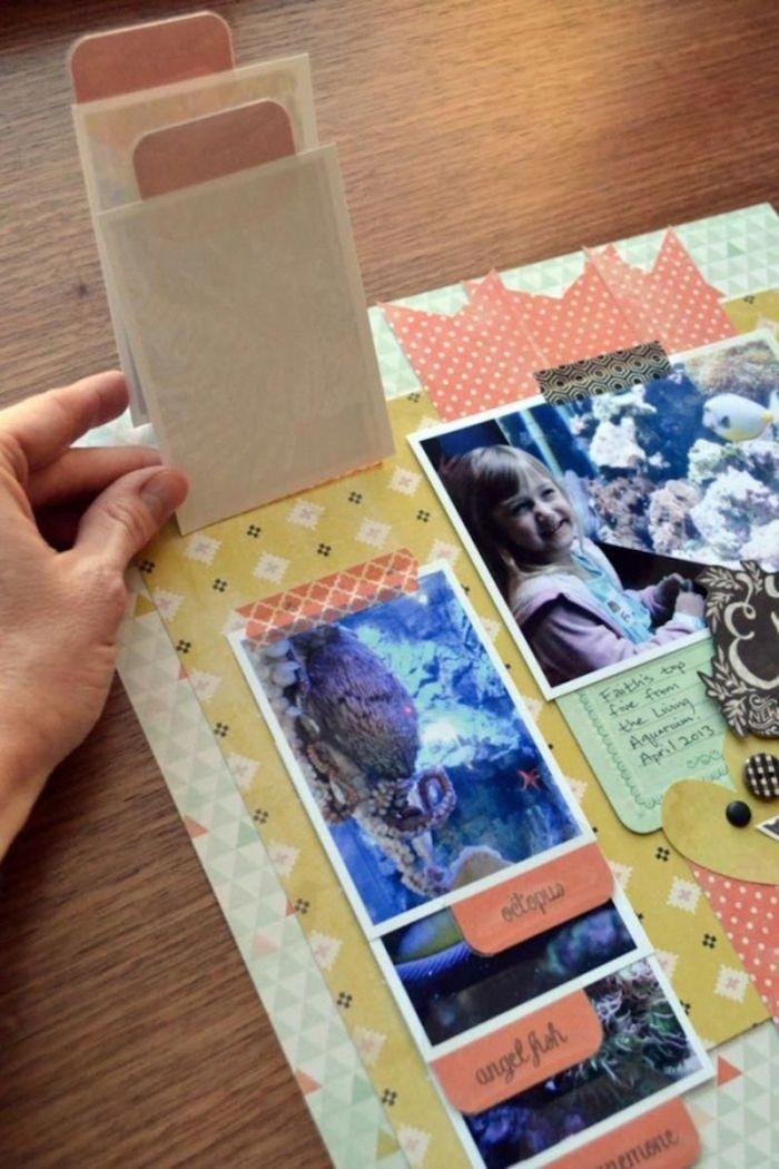 Fabriquer un carnet, scrapbooking idée design page, inspiration scrapbook original, mettre différent dessins et photos qui peuvent s'enlever