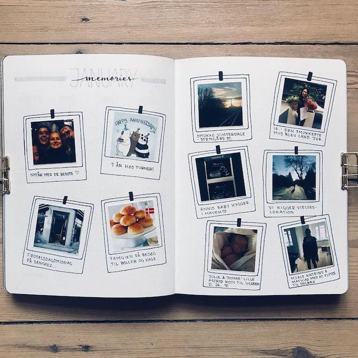 Album avec photographies des amies et endroits, souvenirs de janvier, page carnet de voyage, images à utiliser