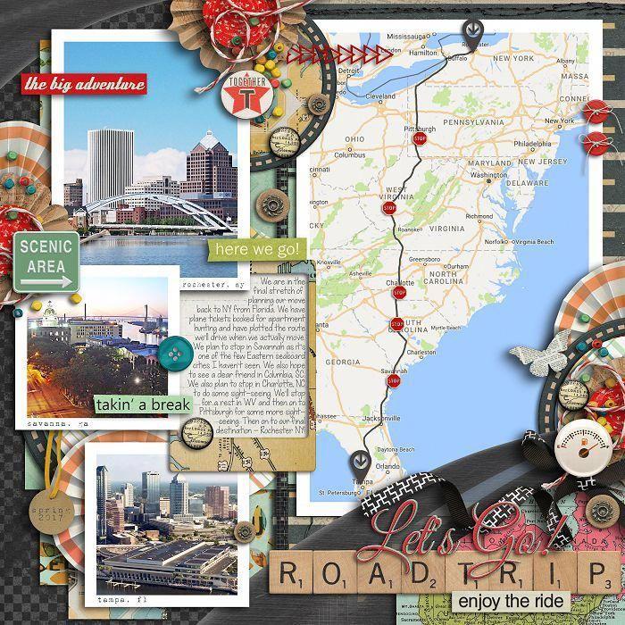 Carte avec les endroits visités, album scrapbooking, ranger ses photos art en album original, photos et petits décos