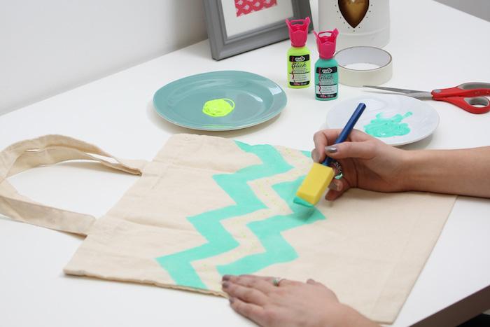 Peinture sur sac cabas simple, couture facile, tuto couture, comment coudre un sac simple