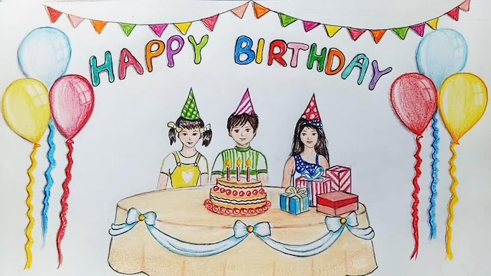 Dessin à crayons coloré, trois enfants assis sur une table avec gateau d'anniversaire, encadré de ballons