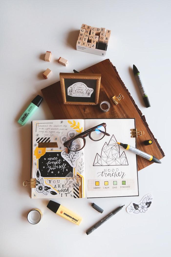 Idée carnet original, album photo scrapbooking, simple et artiste style livre diy
