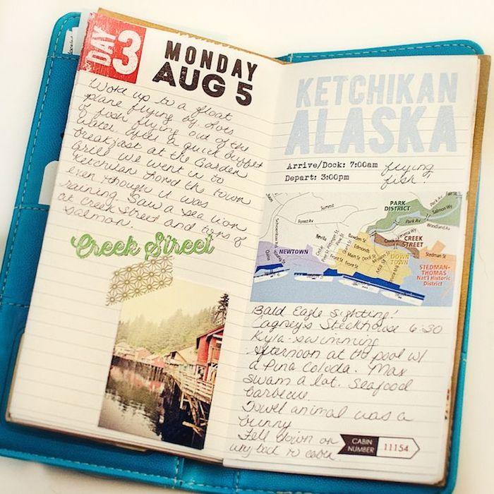 Carnet de voyage avec photos et descriptions des endroits visités, album photo scrapbooking, simple et artiste style livre diy, loisir créatif