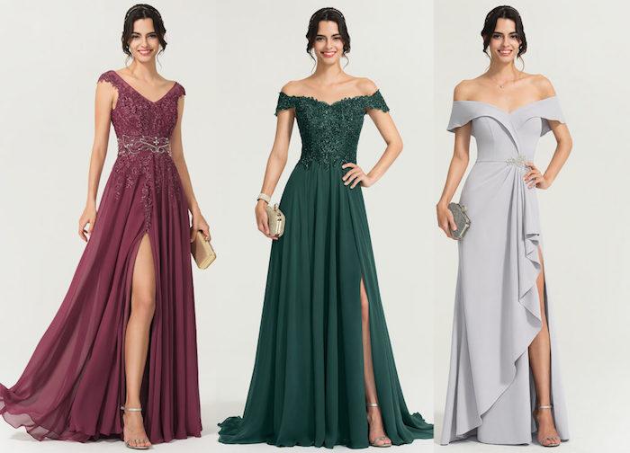 Robe de soirée élégante longue fendue, trois options de robe de soirée cocktail ou mariage pour s'habiller bien pour une occasion spéciale