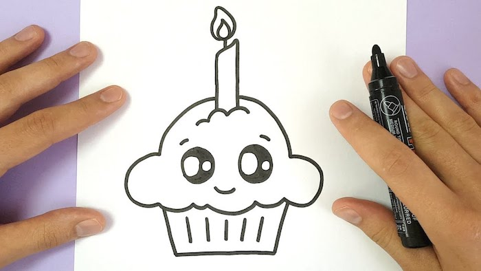 Muffin adorable souriant, dessin simple cupcake kawaii, dessin gateau, image joyeux anniversaire
