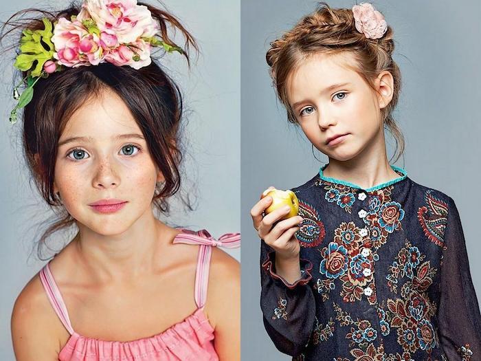 Coiffure avec extentions de cheveux, couronne de fleurs, tuto coiffure facile, coupe de cheveux petite fille, deux filles coiffures originales