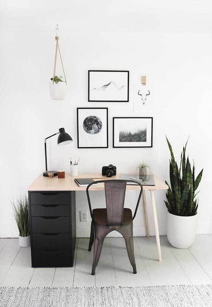 Originale idée bureau deco, ikea rangement bureau meuble et décoration, chambre scandinave blanc et noir et plantes vertes