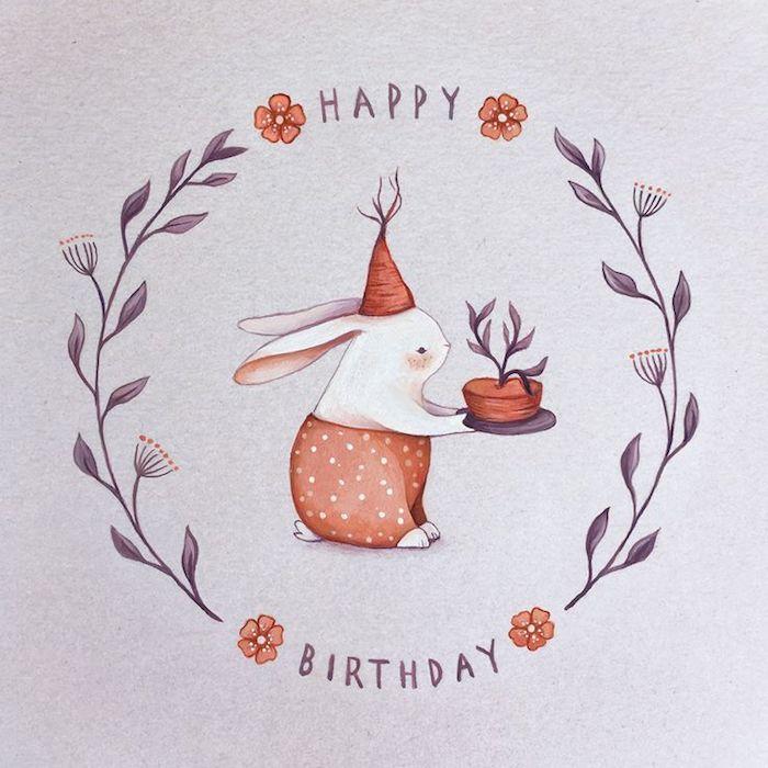 Joyeux anniversaire lapin avec gateau dans les mains, image anniversaire humour, image joyeux anniversaire