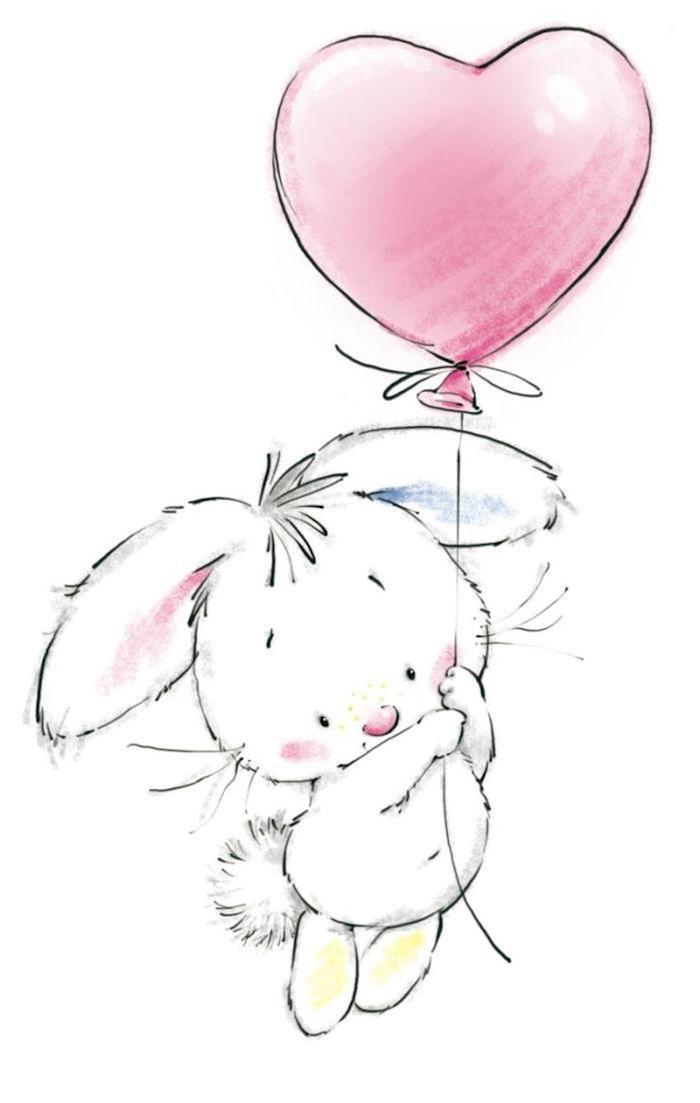 Lapin mignon avec ballon coeur dans la main, image joyeux anniversaire humour, dessin gateau anniversaire