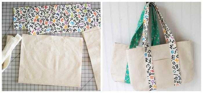 Sac cabas avec poche en front, simple tuto sac, couture facile et rapide, idée de sac à main, bandouilleres colorés