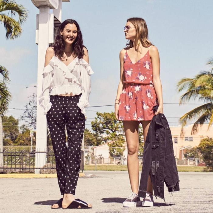 Combinaison fleurie rouge pantalon court, haut femme tendance blanche, mode ete 2019, savoir s'habiller bien