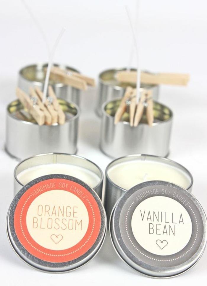 idée cadeau original à faire soi-même, bougie huile essentielle, modèles de bougies parfumées à l'orange et à la vanille