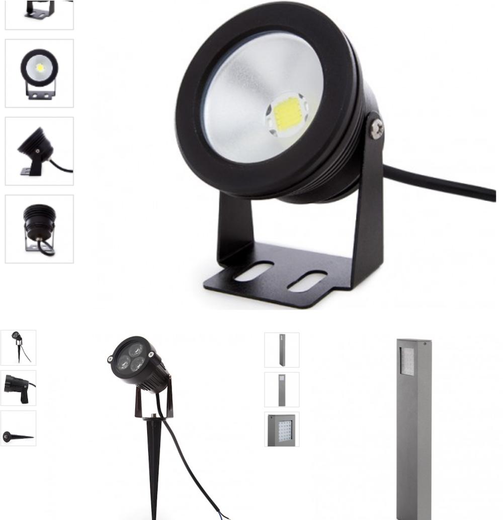 il existe différentes types de projecteurs et lumières LED pour jardin, allées et terrasses