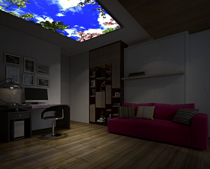 salon illuminé par un plafonnier à led imitation ciel, panneau lumineux à décor ciel installée au plafond du salon
