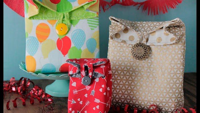 Tissu fleurie sac boite pour ramasser tout, tuto couture, sac multifonctionnel idée rangement ou cadeau