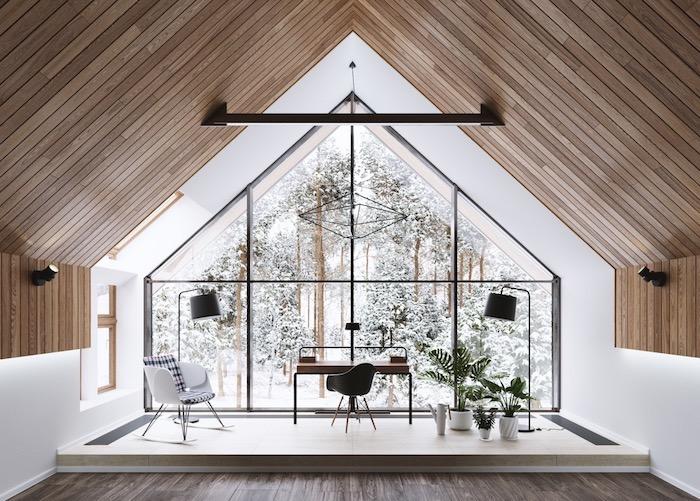 Magnifique vue de chalet dans la foret, mur en verre, bureau ensoleillée de la lumière naturelle, rangement bureau, deco bureau inspiration tumblr