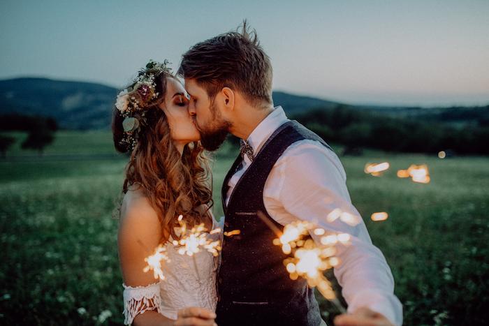 comment choisir le theme de mariage, idée organiser un mariage champetre chic nature