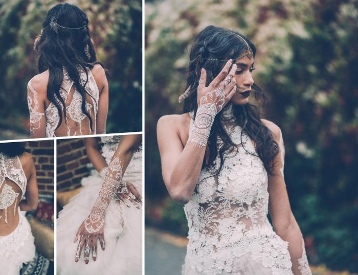 modèle de robe de mariée dentelle avec traîne, décoration main et dos avec dessins en henné aux motifs attrape-rêve