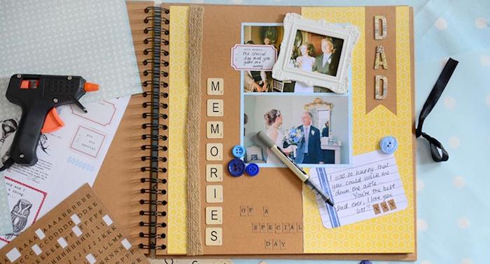 Livre mariage memoires, idée de page pour album photo diy, comment faire un livre scrapbooking