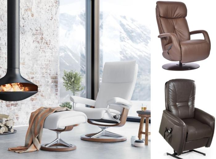 décoration de salon style moderne et industriel avec murs à design briques et plancher à imitation béton, fauteuil relax en cuir blanc avec repose-pieds