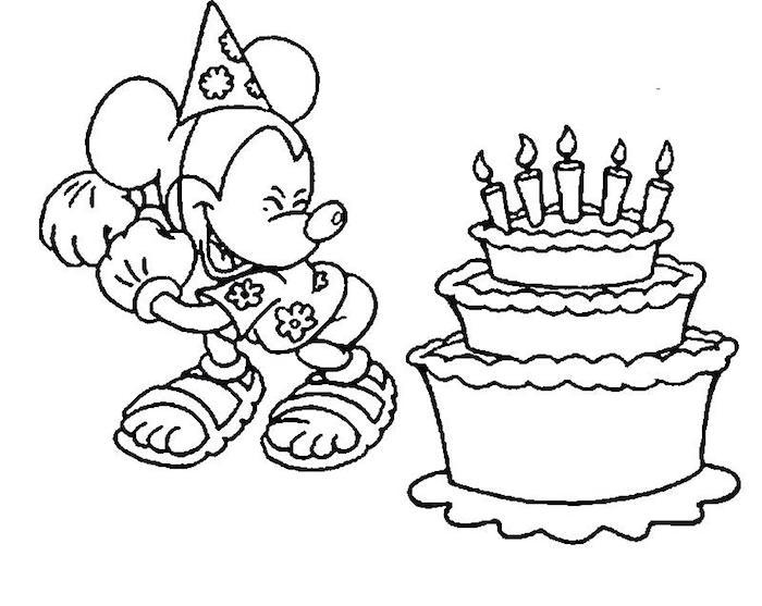 Mickey Mouse et gâteau anniversaire à trois étages avec bougies, dessin d'anniversaire, carte joyeux anniversaire fille