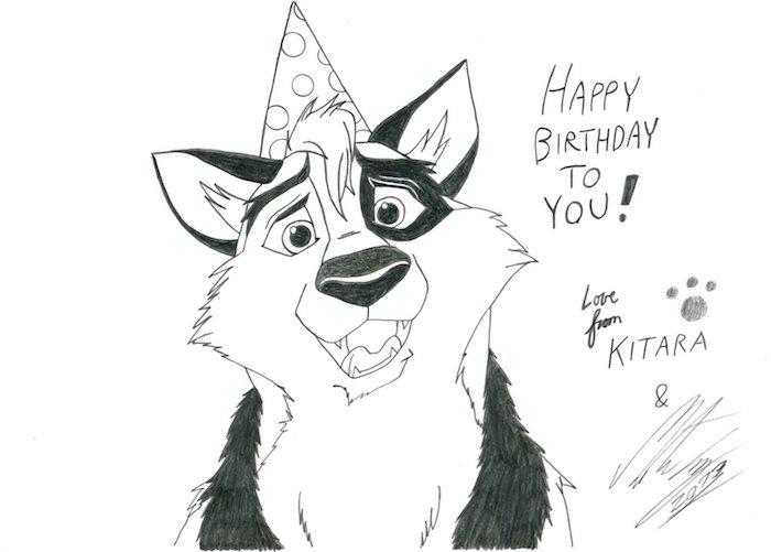 Originale idée d'image joyeux anniversaire, idée de carte joyeux anniversaire diy, chien adorable avec chapeau festive