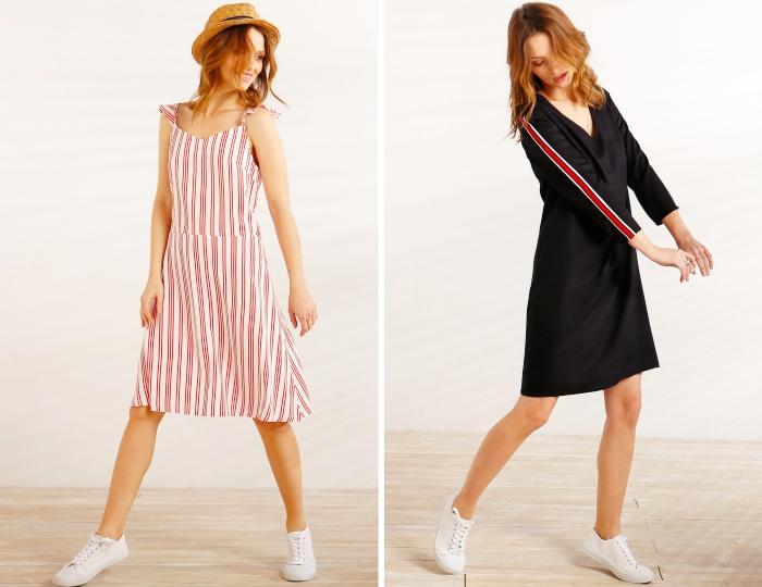 look casual pour été en robe mi longue blanc et rouge combinée avec baskets et capeline, modèle robe courte noire avec manches longues
