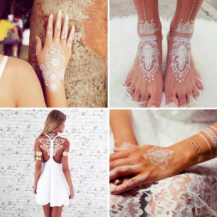 tatouage éphémère sur les doigts aux motifs flèches, idée tattoo blanc sur les pieds avec paillettes dorées et argentées