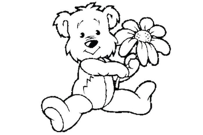 Ourson avec fleur dans la pate, dessin noir en papier blanc, dessin à colorer, dessin gateau, dessin joyeux anniversaire à faire soi-même