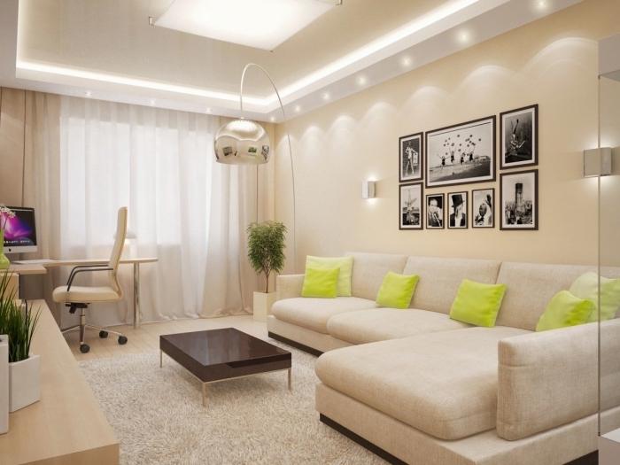 idée peinture murale de couleur ecru, modèle de salon moderne aménagé en couleurs neutres avec accents en noir