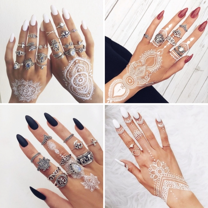 modele henné facile sur la main, idée dessins blancs sur doigts aux motifs flèches, tattoo temporaire à effet bijoux