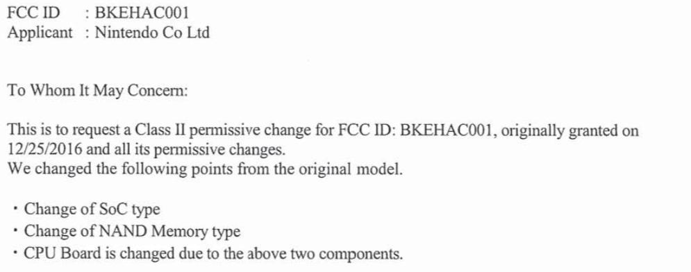 Nintendo aurait déposé une demande d autorisation de modification de sa Switch à la FCC, en vue d une modification de ses composants