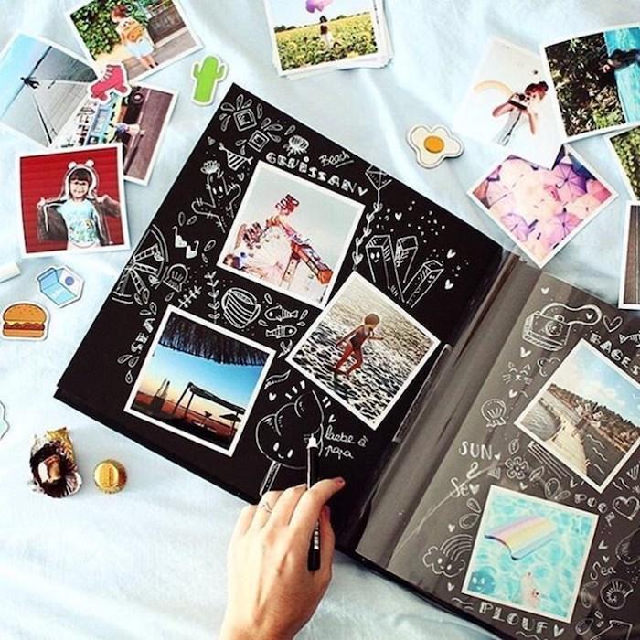 Dessins et photos dans un album personnalisé, comment faire un livre, album scrapbooking, album photo diy, pages noirs et stylo blanc