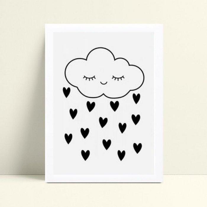 Dessin nuage et gouttes d'eau à la forme de coeur, image anniversaire humour, dessin joyeux anniversaire