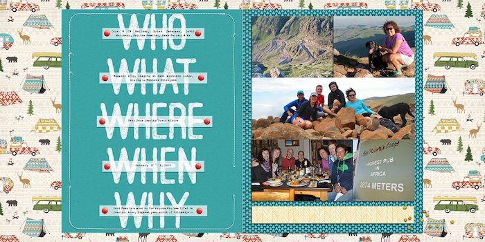 Page carnet de voyage, album scrapbooking, qui, quoi, où, quand et pourquoi, empruntes de reponses, photographies voyage