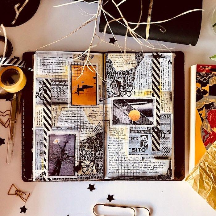 Texte, dessins et photos pour un album scrapbooking, comment faire soi meme un scrapbooking voyage