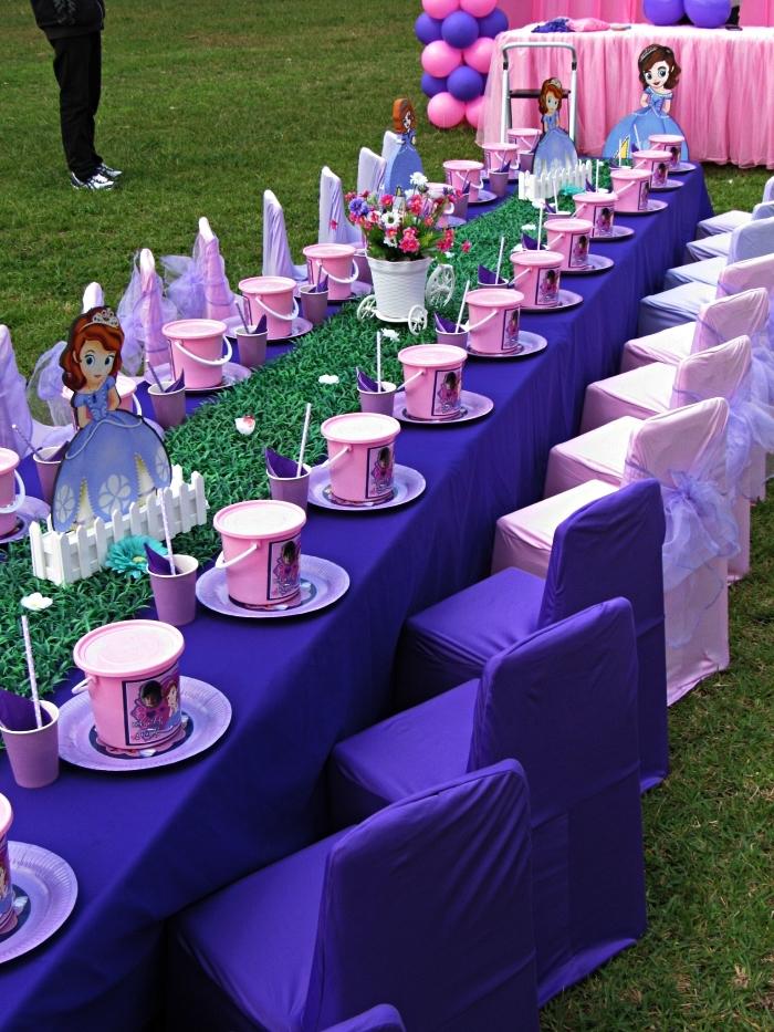 deco tabla anniversaire en rose et violet sur le thème princesse décoré avec chemin de table gazon et des princesses en carton