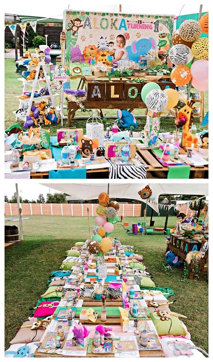 deco table anniversaire en plein air, organiser un pique-nique d'anniversaire sur le thème safari, tables basses en palettes à déco safari pour un pique-nique d'anniversaire