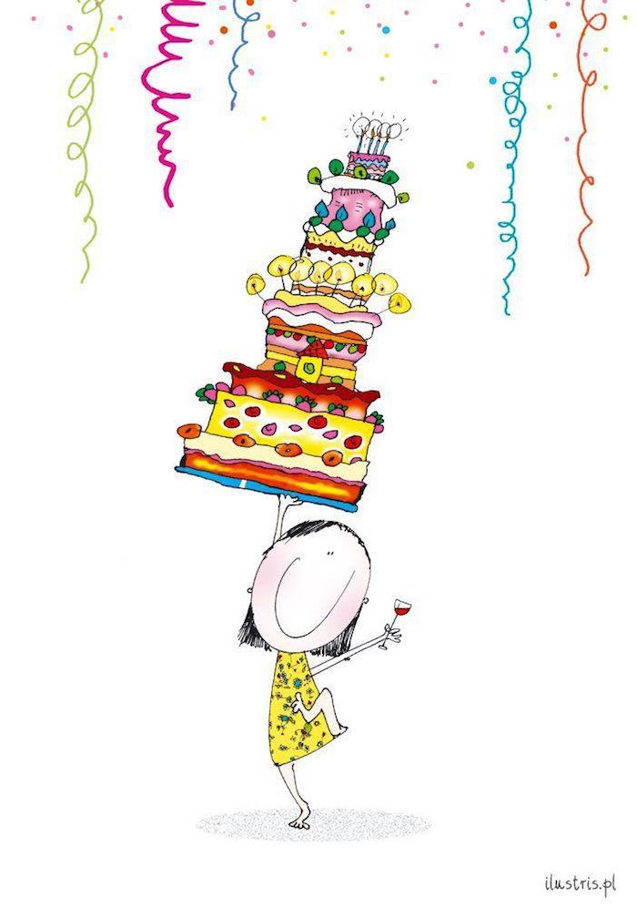 Amusement anniversaire, dessin coloré de fille avec tasse de vin dans une main et un grand gâteau dans l'autre, balance dans la vie