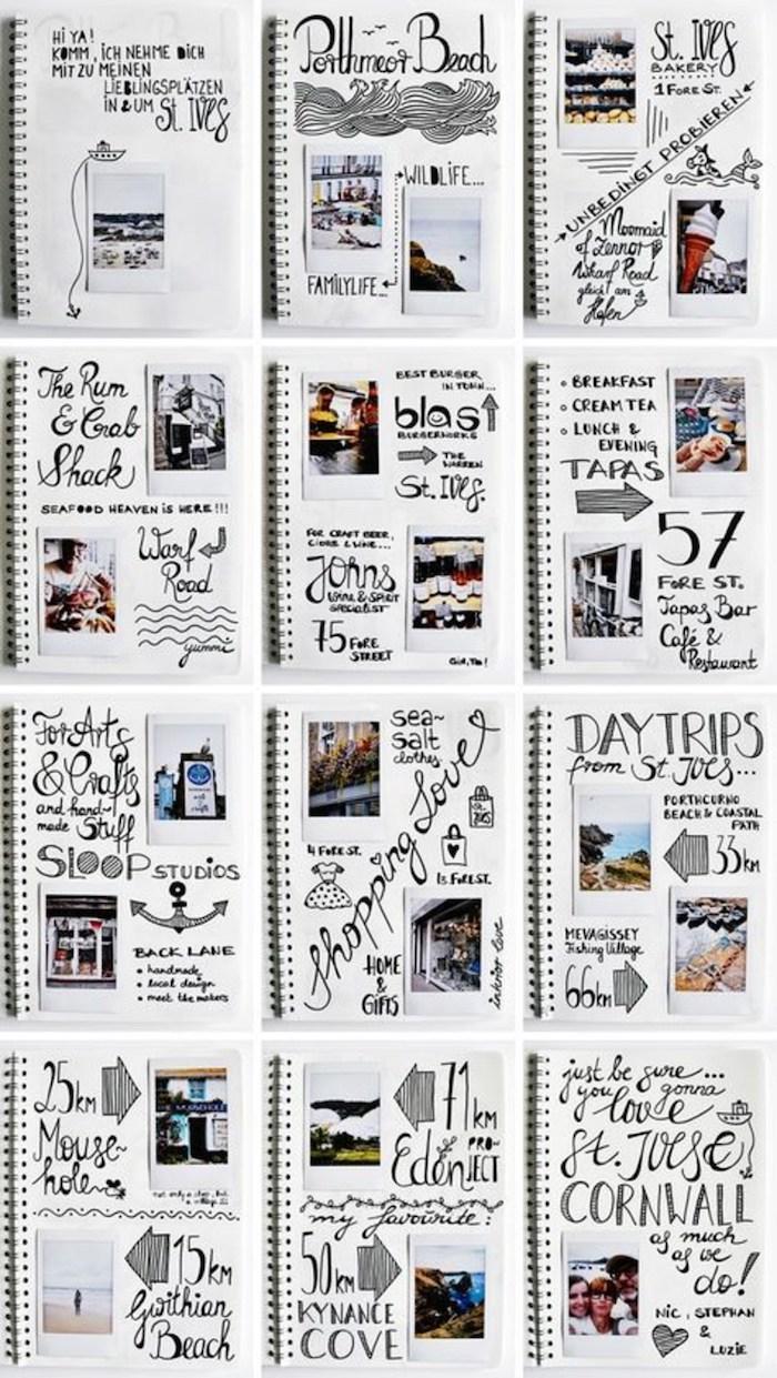 Une douzaine de pages de carnet e voyage, créer sa aesthétique simple, scrapbooking pas cher, photo album scrapbooking voyage,